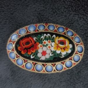 Antique Oval Dome Micro Mosaic Brooch Pin NICE